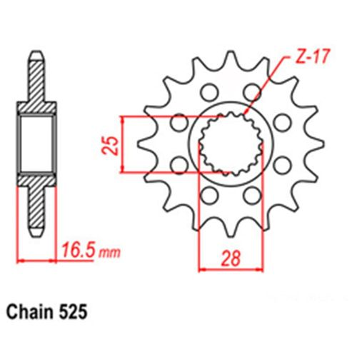 RK Front Sprocket 16T #525 KTM RC8