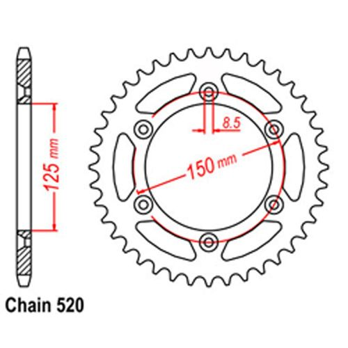 RK Rear Sprocket 45T #520 KTM